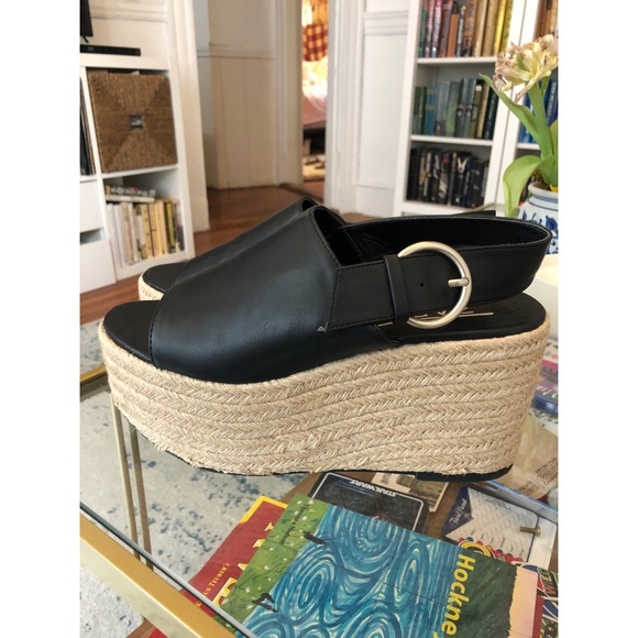 Black Zara Jute Platform Wedges [new]
